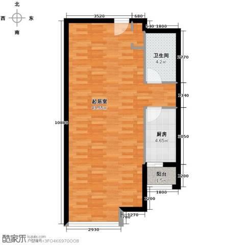 保利金香槟1室2厅1卫0厨74.00㎡户型图