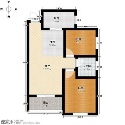 汉城湖畔2室2厅1卫0厨82.00㎡户型图