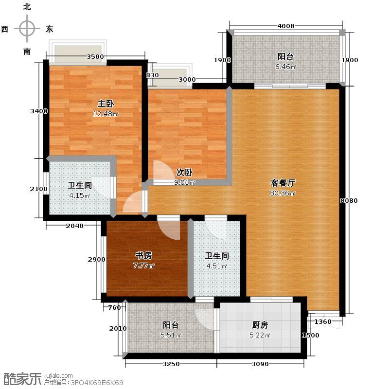 中亿阳明山水88.41㎡18-3户型3室2厅2卫