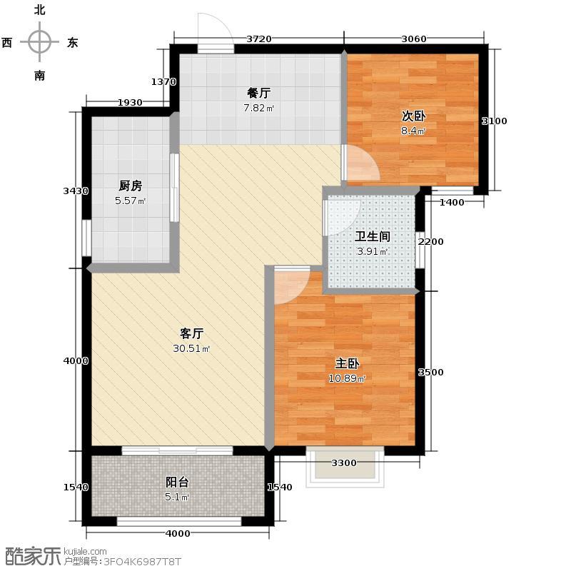 曲江圣卡纳91.00㎡2#楼B户型2室1厅1卫1厨