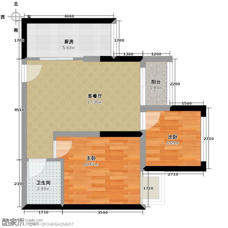 银茂江尚怡景51.82㎡一期1号楼标准层A5户型1室2厅1卫