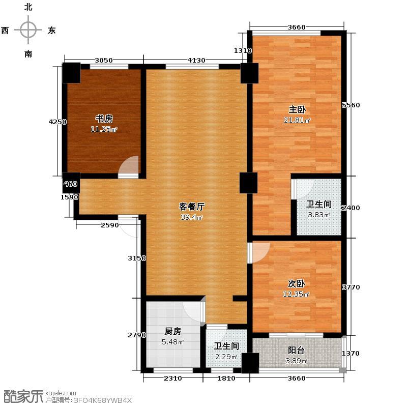 合鑫广场141.00㎡17号楼2单元202户型3室1厅2卫1厨
