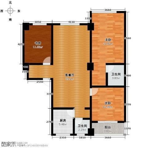 合鑫广场3室1厅2卫1厨141.00㎡户型图