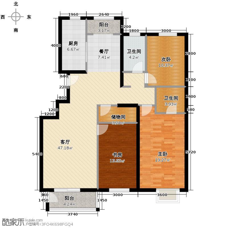 远洋一方141.00㎡三期C2三居户型3室2厅2卫