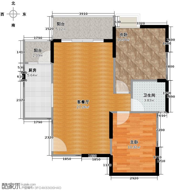 阳城心灵家园83.00㎡E-3户型2室2厅1卫