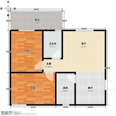 银通丽水天成2室2厅1卫0厨67.00㎡户型图