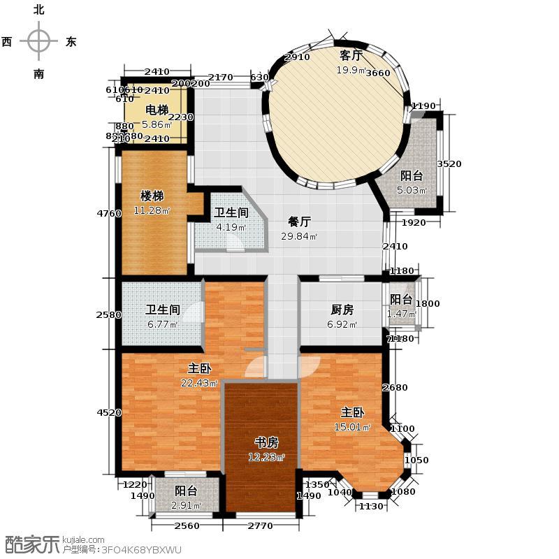 海棠公社156.89㎡F户型3室2厅2卫1厨