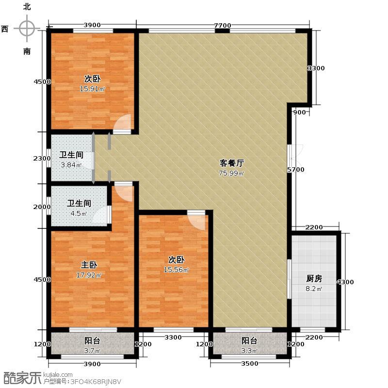 富贾花园222.00㎡A\\B户型3室2厅2卫