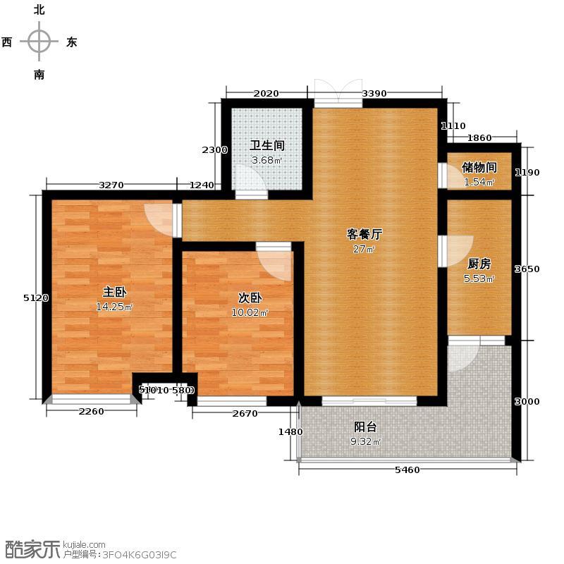 紫薇风尚3期93.00㎡户型2室2厅1卫