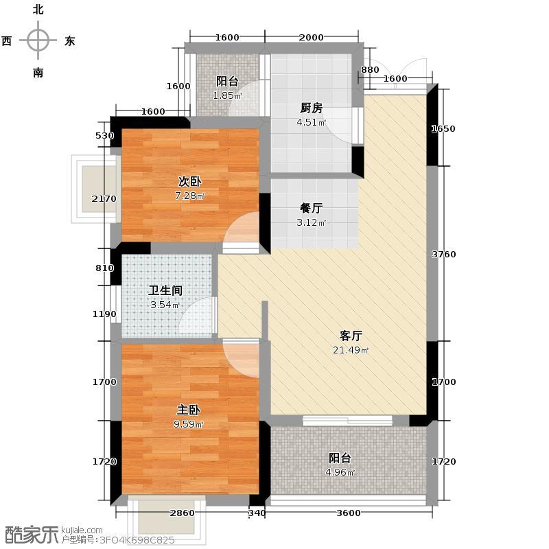 泽瑞琥珀居57.23㎡图为C3户型2室1厅1卫1厨