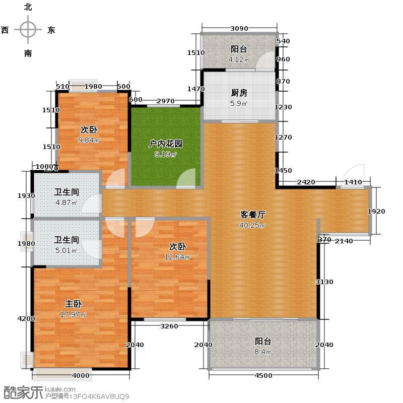 慕和南道134.30㎡16号楼偶数层赠送户型3室1厅2卫1厨