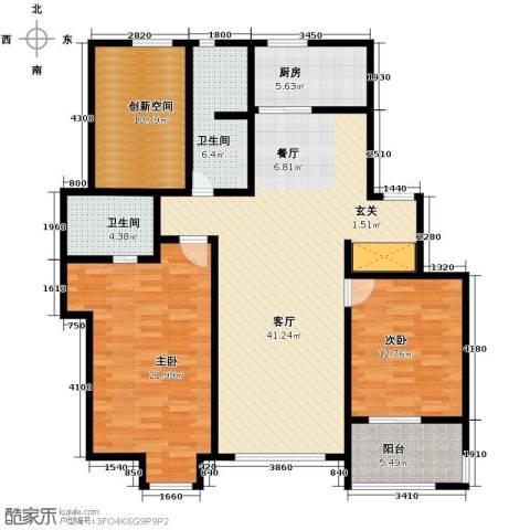 万科蓝山2室1厅2卫1厨133.00㎡户型图