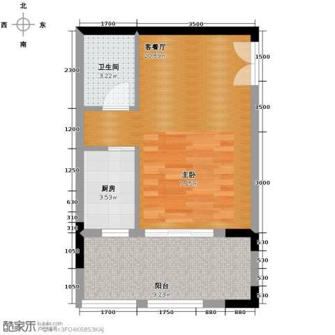 中冶重庆早晨1厅1卫1厨56.00㎡户型图