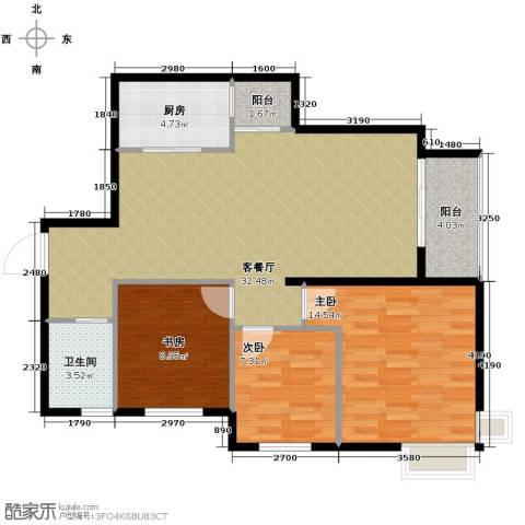清江山水3室2厅1卫0厨101.00㎡户型图