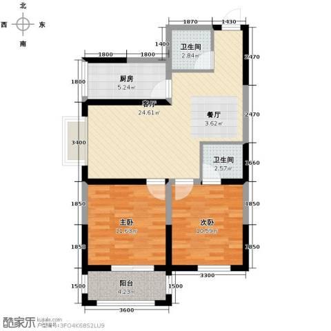 明林庭苑2室2厅2卫0厨90.00㎡户型图