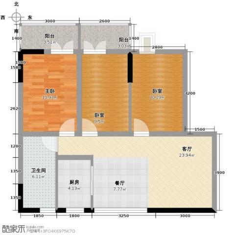 怡乐花园1室1厅1卫1厨103.00㎡户型图