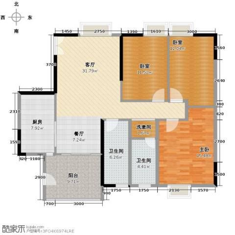 怡乐花园1室1厅2卫1厨111.62㎡户型图