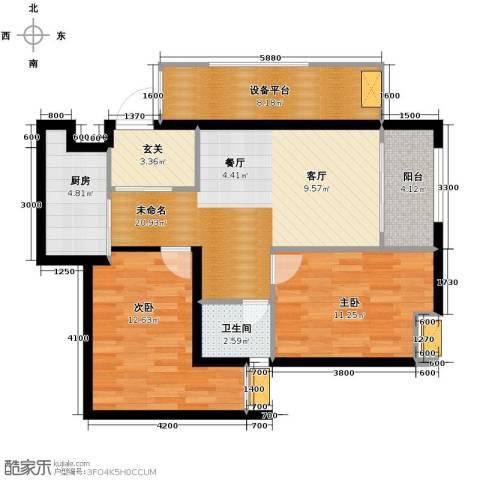 万科悦峰2室0厅1卫1厨80.00㎡户型图