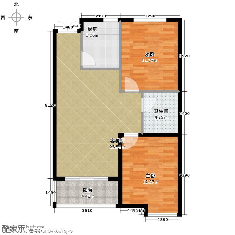 致幸福85.00㎡标准层B户型2室2厅1卫
