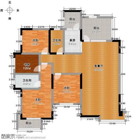 中建康城4室1厅2卫1厨168.00㎡户型图
