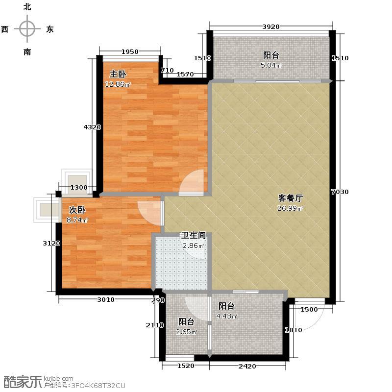春语江山74.00㎡7号楼4号户型2室2厅1卫