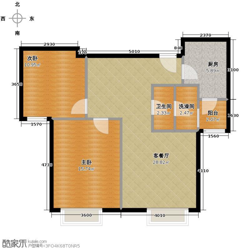 世茂生态城86.00㎡高层E户型2室2厅1卫
