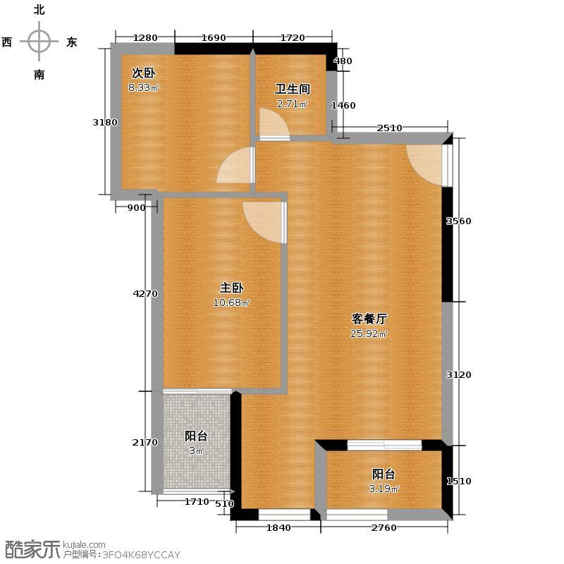 秀城嘉园60.96㎡户型2室1厅1卫