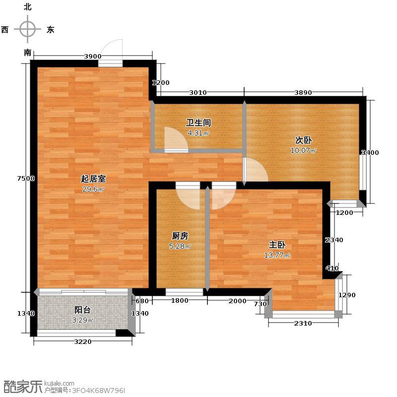 皇冠国际86.13㎡3#楼标准层B户型1室2厅1卫