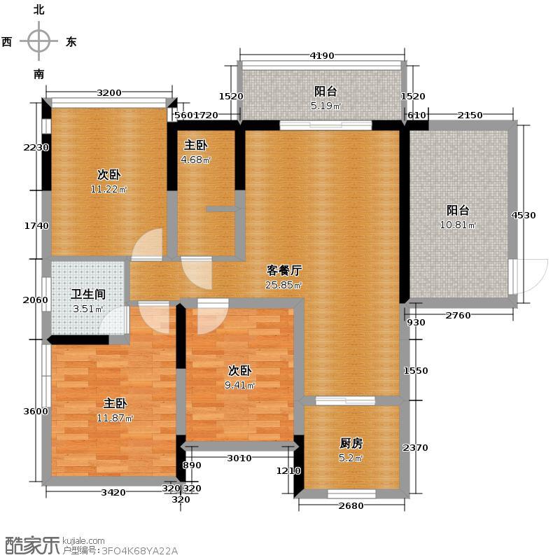 湘水熙园111.54㎡2、8栋A户型3室2厅2卫