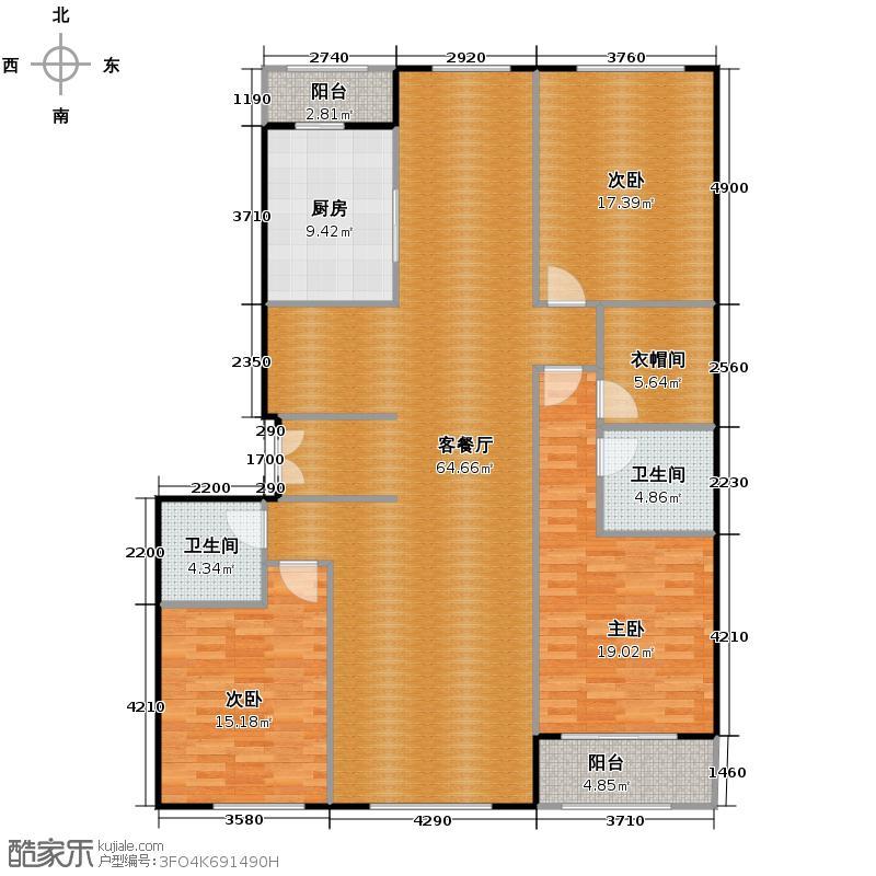 西山壹号院178.00㎡H户型3室2厅2卫