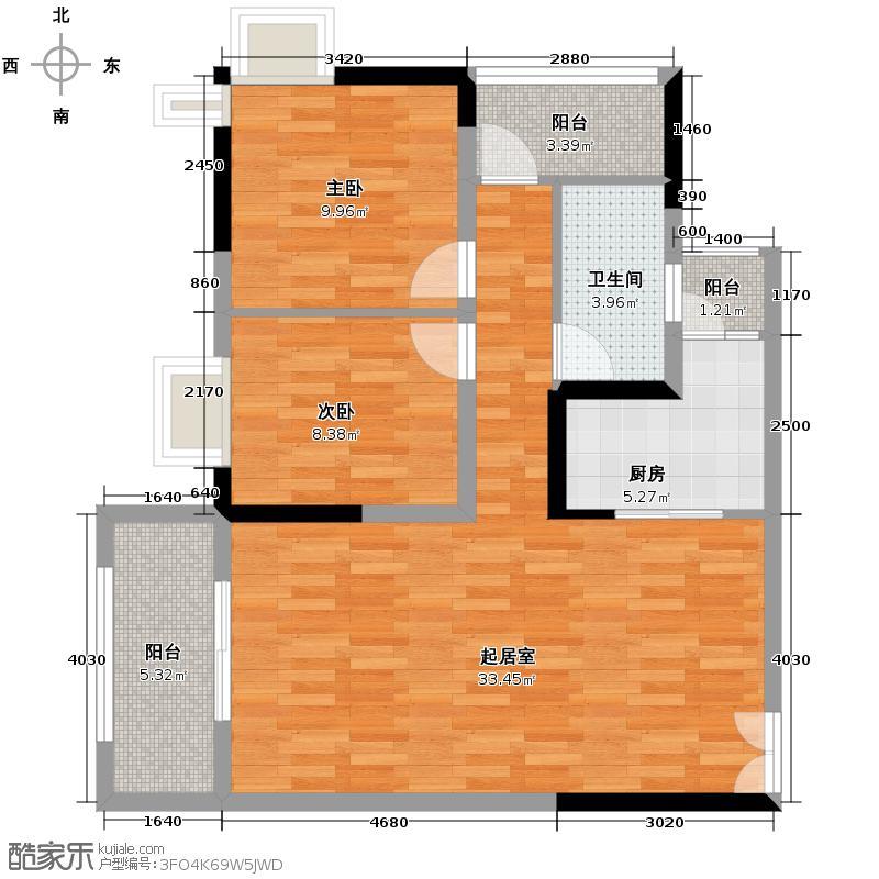 民生新城12.00㎡12号楼/1号户型2室1卫1厨