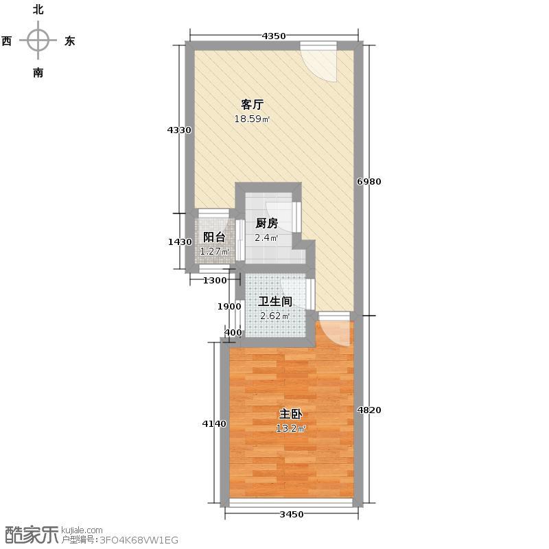 成都国际商城49.00㎡4单元D8、151室户型1室1厅1卫