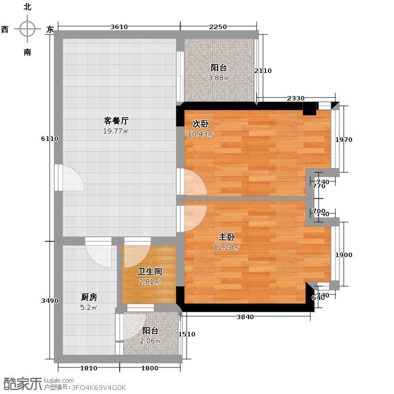 外滩三阳金城86.59㎡C2-8户型2室1厅1卫1厨