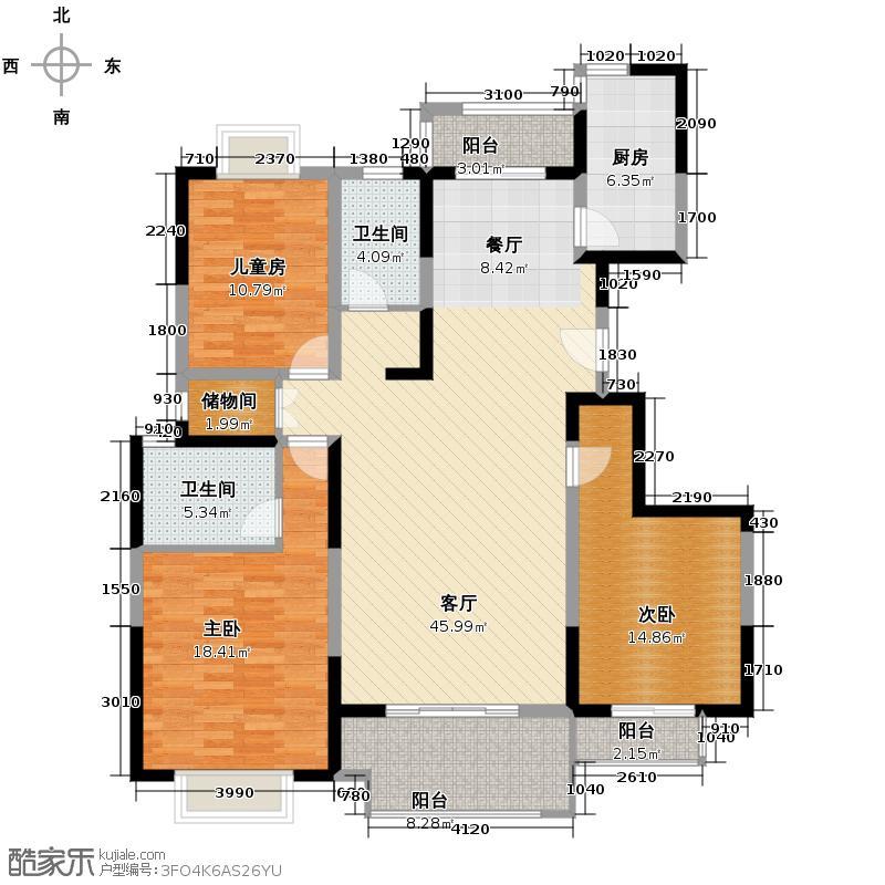 中国铁建梧桐苑141.00㎡在售F南北三阳台48米客厅户型3室2厅2卫