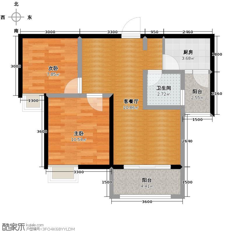 先登6号快线70.37㎡一期2号楼标准层B户型2室2厅1卫