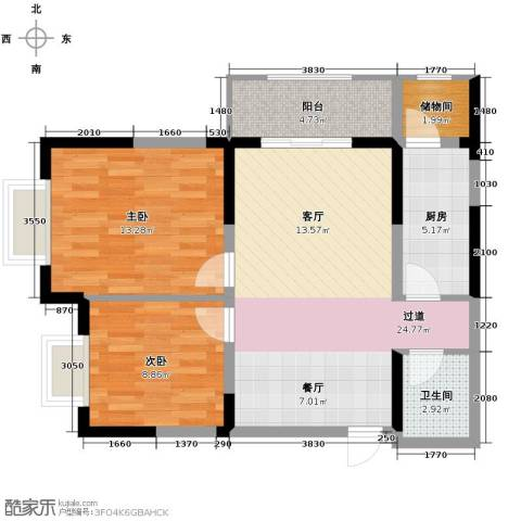 紫郡观澜2室2厅1卫0厨88.00㎡户型图