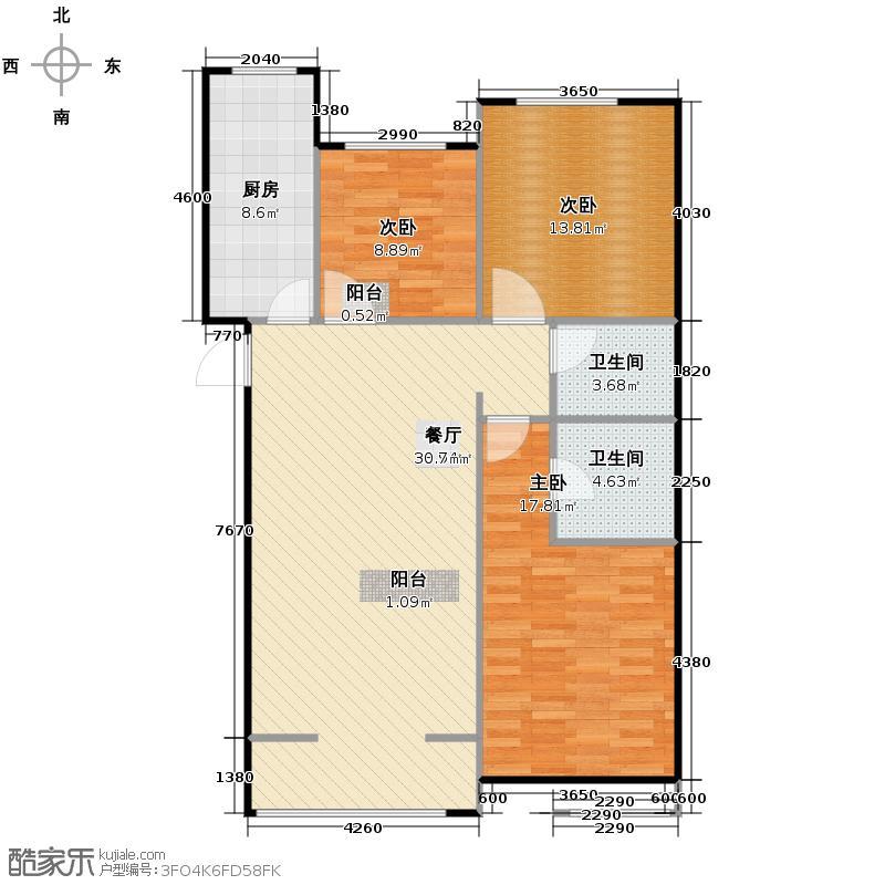 中兴和园103.06㎡2#3单元-03-C7三室户型3室1厅2卫1厨