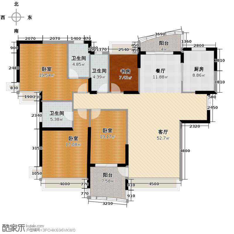 广州雅居乐花园188.03㎡挪威森林200753栋01/02户型1室1厅3卫1厨
