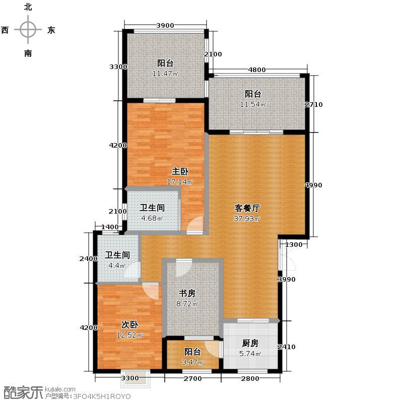 艺锦湾120.00㎡C3`户型3室1厅2卫1厨