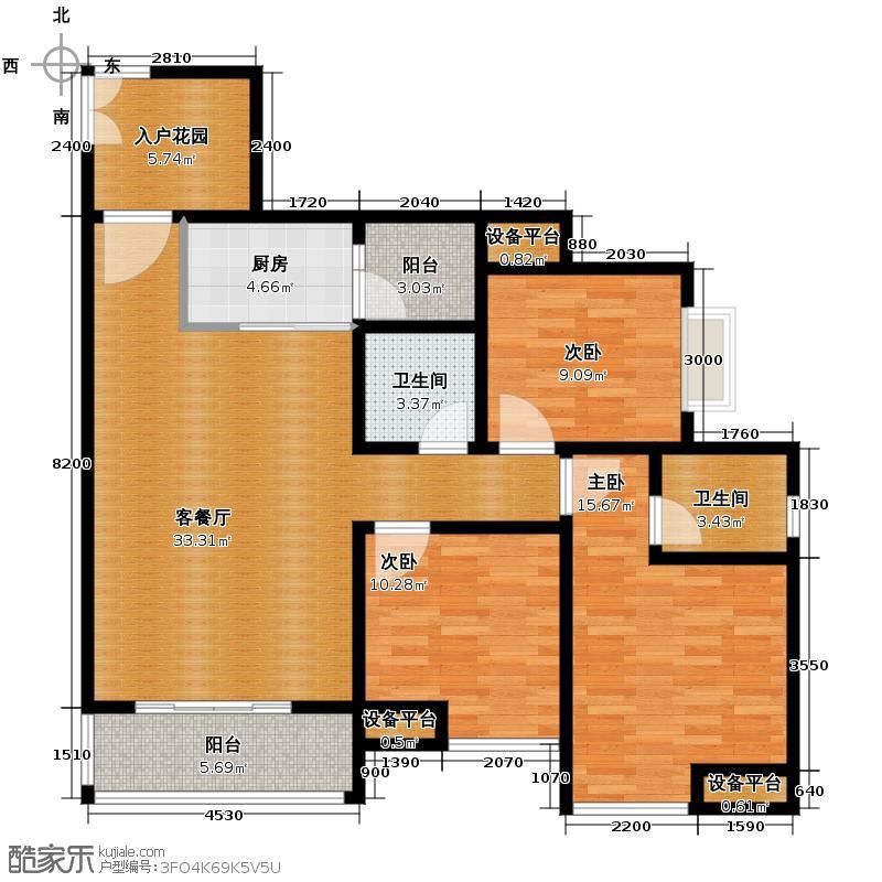 升伟中环广场110.13㎡5号楼2/5号房带入户花园户型3室2厅2卫