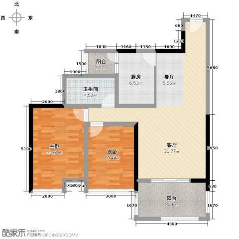 礼顿山1号2室1厅1卫1厨89.00㎡户型图