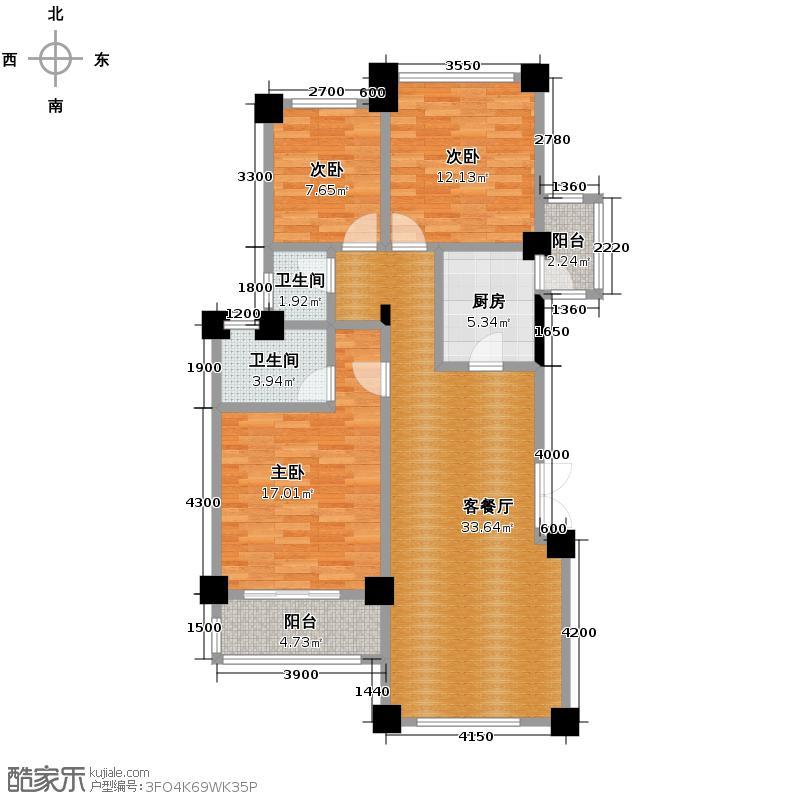 当代安普顿小镇119.26㎡Tn-4户型3室2厅2卫