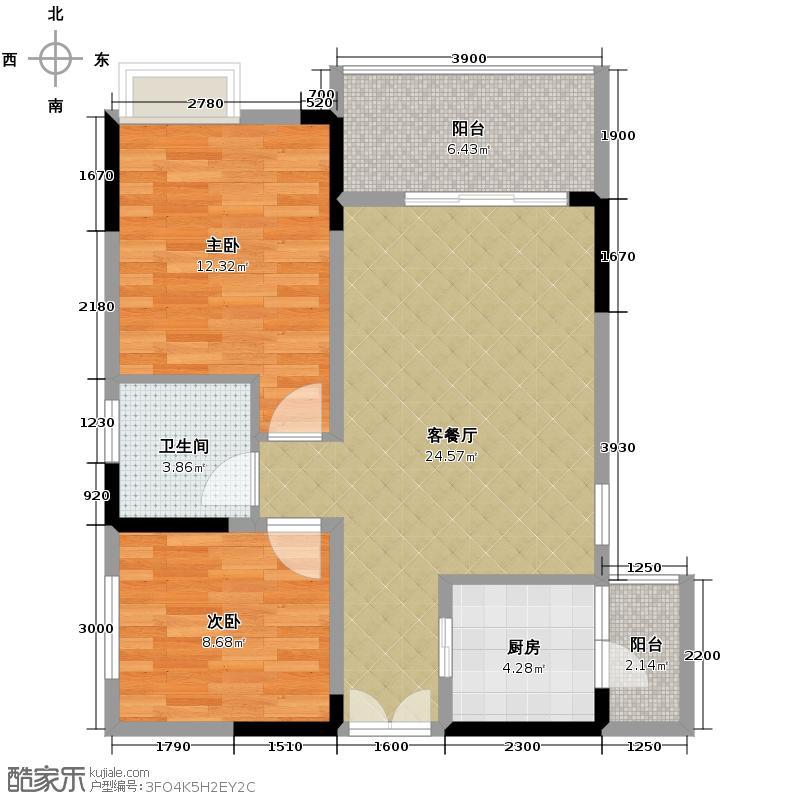 恒雨后现代城76.11㎡8号楼A1户型2室2厅1卫