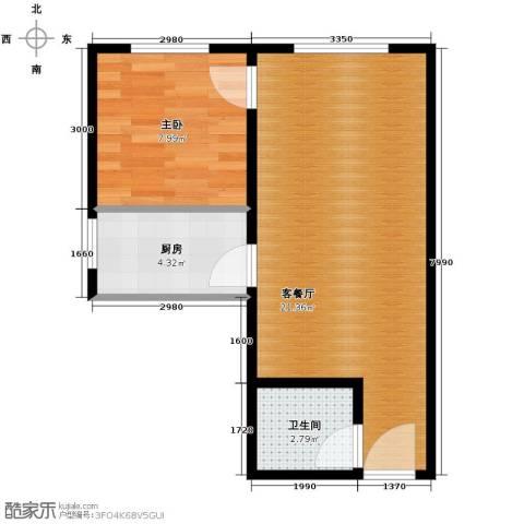 高新大都荟1室2厅1卫0厨50.00㎡户型图
