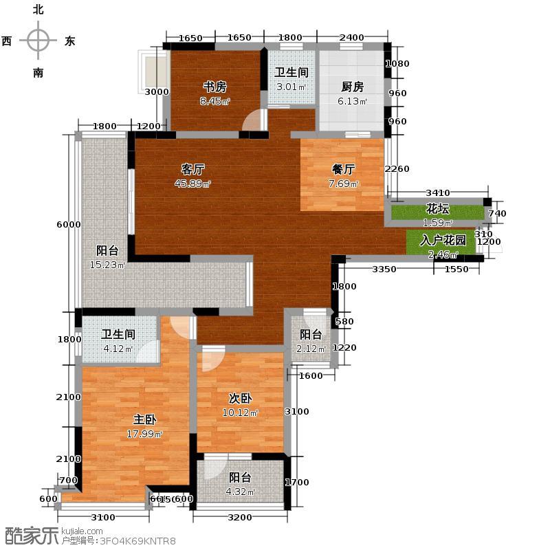 清江山水142.00㎡8号楼的C1一期户型3室2厅2卫