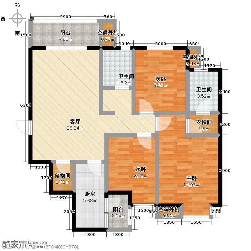 风憬天下114.20㎡10#C1户型3室2厅2卫