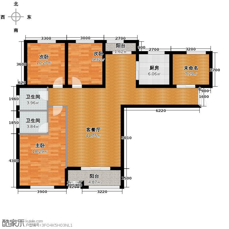 兰乔国际城125.73㎡D户型3室1厅2卫1厨