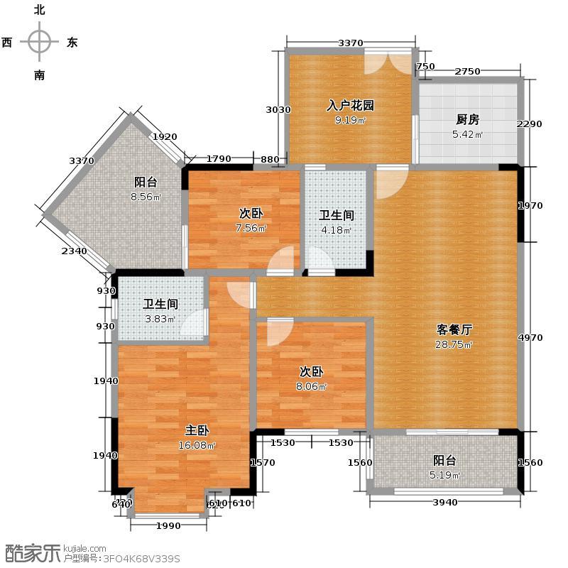 南方玫瑰城90.58㎡E户型3室2厅2卫
