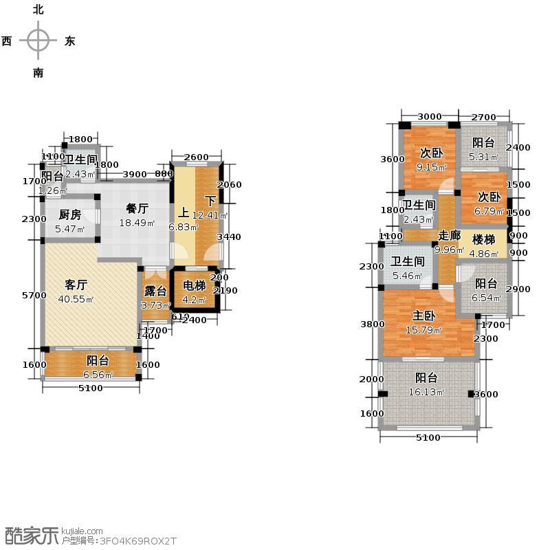德坤海地亚181.37㎡3栋A2户型3室2厅3卫