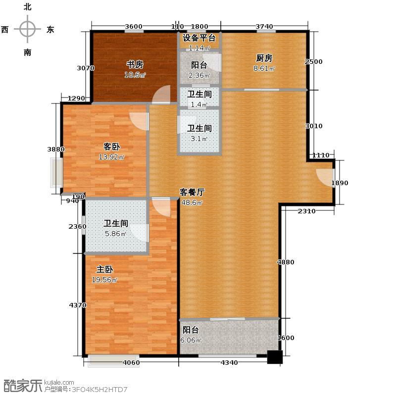 仁恒河滨花园156.00㎡A1户型3室2厅2卫